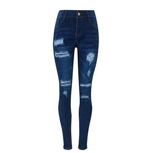 Vectry Jeans Damen Slim Fit Skinny Fit Jeans Destroyed Herbst Jogger Push Up Ankle Straight Leg Mit LöChern Stretch Denim Relaxed Fit Hose Aufnäher Hosen, Zerrissene Bleistifthosen Stretch (S, Blau) (Skinny-jeans Knöchel-zip)
