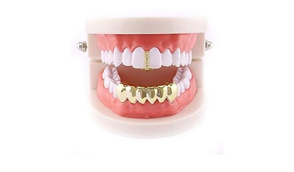 Aisoway Singolo Denti Hip Hop Rapper Rame Hollow dentiera Cosplay del Partito del Dente Gioielli placcatura Corpo