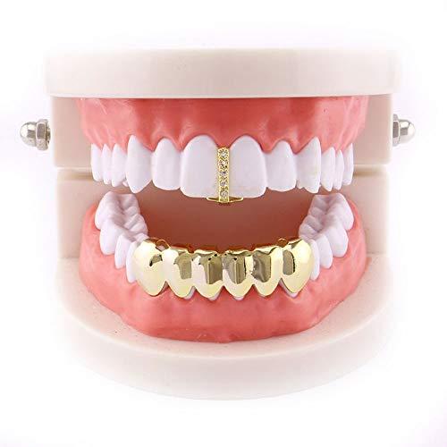 Kostüm Zähne Für Grill - YHDD Kreative Gold überzogene Hip Hop Bling Zahn Set Oben & Unten Grill Zähne Caps - Hochglanz für Erwachsene Kostüm Party Zubehör (Farbe : Gold)