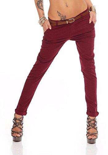 Gürtel Rote Skinny (Fashion4Young Damen Skinny Chino Pant Hautenge Treggings Stretch-Stoff Damenhose mit Gürtel (XL=42, Weinrot))