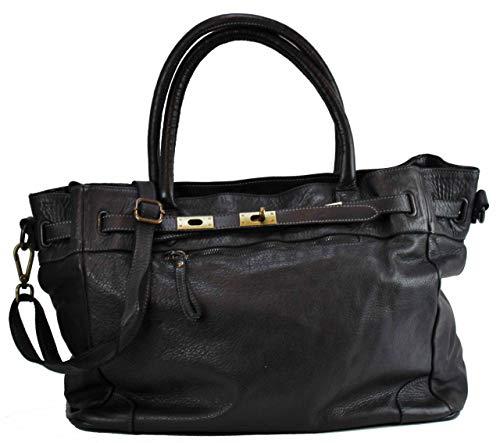 BZNA Bag Mila Schwarz nero vintage Italy Designer Business Damen Handtasche Ledertasche Schultertasche Tasche Leder Shopper Neu - Prada Schwarz Leder