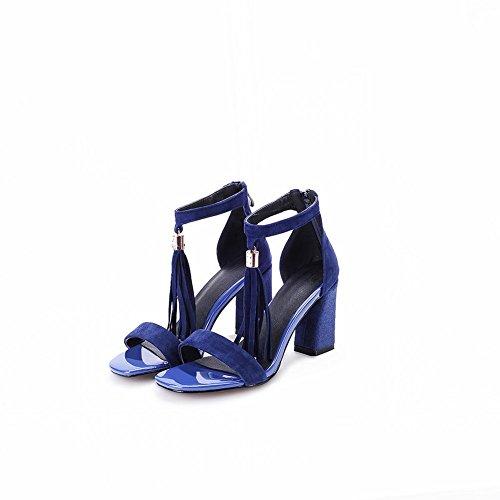 Adee Mesdames solide en polyuréthane Sandales à franges Bleu - bleu