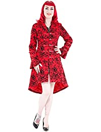 Pretty Kitty Fashion Red Vintage Tattoo Flock Fabric Long Coat
