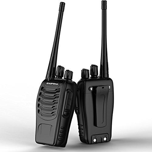 ICOCO wiederaufladbare Walkie Talkie FM Transceiver 400-470MHz Taschenlampe 5W mit Headset Walkie-ladegerät