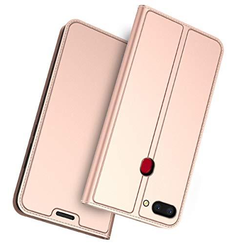 FugouSell Oppo Realme 2 Leder Hülle, Premium PU Leder etui Schutzhülle Tasche mit Kippständer, Slim Flip Case Cover für Oppo Realme 2(Rose Gold)