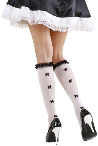 Widmann 2034F - Strümpfe mit Spitzendekorationen und schwarzer Schleifen, 70-den (Socken Fun Knie-hohe Frauen)