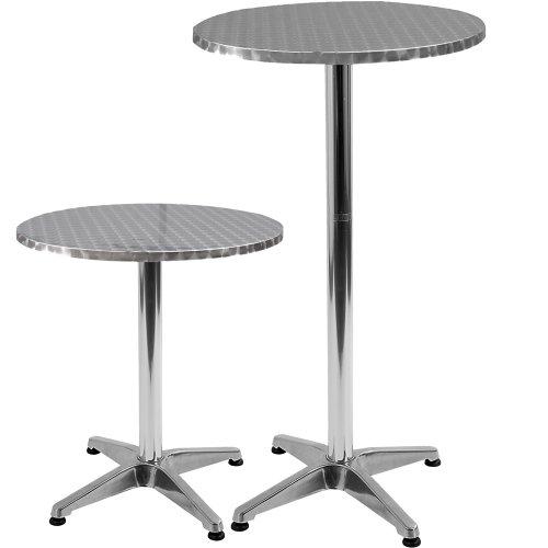 Verstellbare Edelstahl-Bistro Tisch rund 600mm Durchmesser