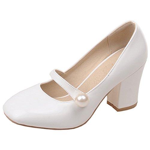 Artfaerie Damen Blockabsatz High Heels Mary Janes Pumps Riemchen mit Klettverschluss und Perlen Lack Schuhe