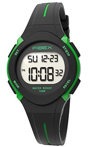 Fibex Dual Time Reloj de Pulsera Digital Negro/Verde para niños, Resistente al Agua 10 ATM, Alarma...