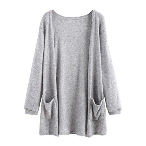 Damen jacke,Frauen Lange Lose Herbst mantel mit Tasche (Gray, EU: 40) (Doppel-breasted Rock)
