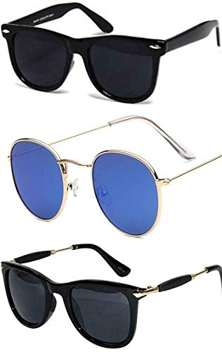 Sheomy Stylish sunglasses 3 Combo Set of 3 UV Protect Avaitors & Wayfarers Unisex sunglasses and goggles for Men/Women (Full Black Wayfarer | 2148 Black Wayfarer | Pento Golden Blue Mercury)