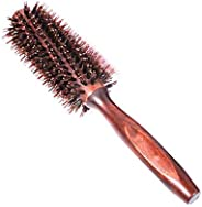 Natural Boar Bristle Round Comb Hair Brush with Ergonomic Natural Wood Handle-FER002924
