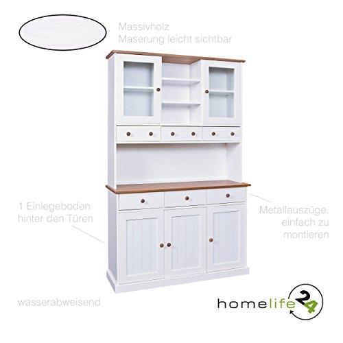 H24living Vitrine weiss Sepia braun 5 Türen Einlegeböden 6 Schubladen Massivholz lackiert mit Metallauszüge