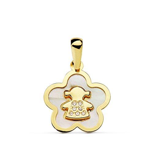 18 Karat Gold Perle Anhänger 12mm Blumenmädchen. circonitas [AB4662] (Blumenmädchen 12)