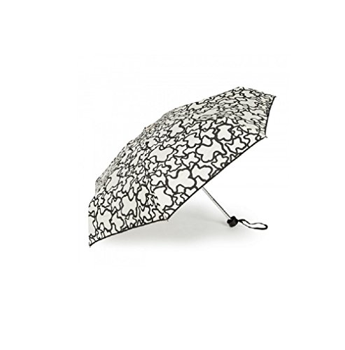 Paraguas Tous mini plegable Kaos color arena-negro