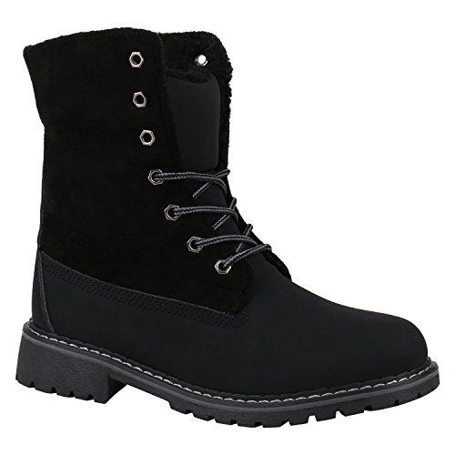 Stiefelparadies Warm Gefütterte Damen Stiefeletten Worker Boots Kunstfell Schuhe Flandell Schwarz Bernice