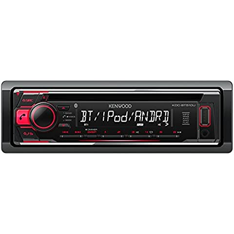 Kenwood KDC-BT510U Autoradio CD e USB, Rosso