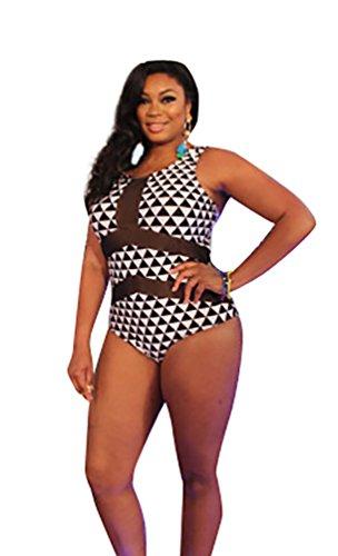 MissFox Donne Plus Size Costume Da Bagno Triangolo Capestro Monokini Bikini (Nero Bianco,4XL)