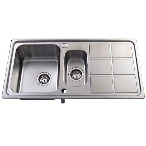 Edelstahl Spüle Küchenspüle Spültisch Spülbecken Einbauspüle mit Restebecken und Abtropffläche Test