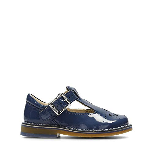 Clarks Yarn Weave First Leather Shoes in Blue Patent Wide Fit Size 5½