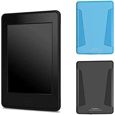 MoKo Kindle Paperwhite Funda, [2-Pack] Soft TPU Skin with Flexible Semi-transparent Frosted Rubber Back para Amazon All-New Kindle Paperwhite (Fits All 2012, 2013 and 2015 Versions), Negro & Azul