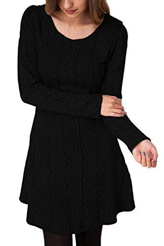 YMING Damen Langarm Tunika Stricken Langarm Jumper Mini Kleid Pullover,Schwarz,L (Pullover Stricken Tunika)