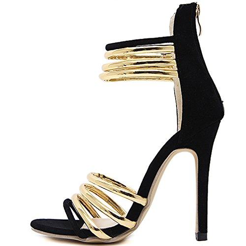 Oasap Women's Open Toe Sequin Hollow out Stiletto Heels Sandals Black