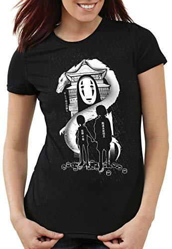 CottonCloud Chihiro Stereo Damen T-Shirt Anime Manga Ghibli, Farbe:Schwarz, Größe:M