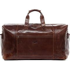 Idea Regalo - SID & VAIN® borsa da viaggio vera pelle vintage BRISTOL grande XXL borsa da weekend 62 l borsone uomo cuoio marrone