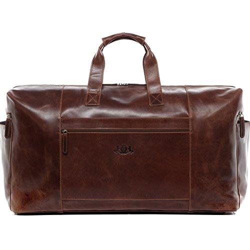 SID & VAIN Reisetasche Leder Bristol XXL groß Sporttasche groß Herren 62l Weekender echte Ledertasche Damen Herren 65 cm braun