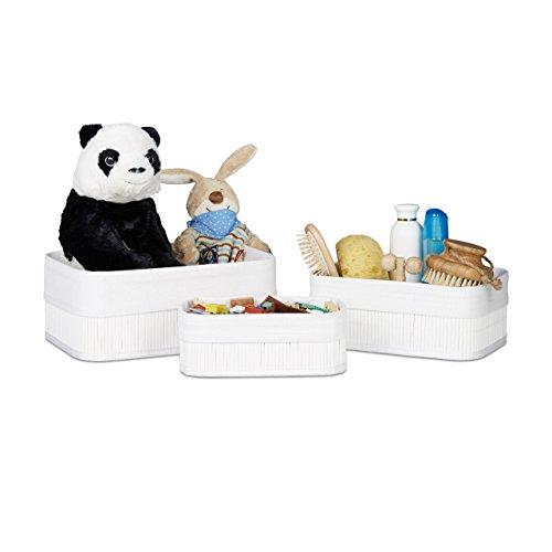 Relaxdays Aufbewahrungskorb Bad aus Bambus 13 x 30 x 20 cm HxBxT, pflegeleichtes 3er Set Regalkorb mit Stoffbezug, weiß - Bad Korb-set