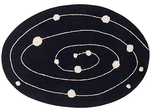 Lorena Canals Waschbarer Teppich Milky Way Recycling-Baumwolle -Schwarz- Beige- 140x200 cm -