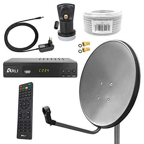 Digital Sat Anlage 60 cm Spiegel inkl. ARLI AH2 HD Receiver + Single LNB + 10m Koax Kabel + 2 F - Stecker vergoldet 1 Teilnehmer Set dunkelgrau anthrazit Camping Antenne 1 Teilnehmer
