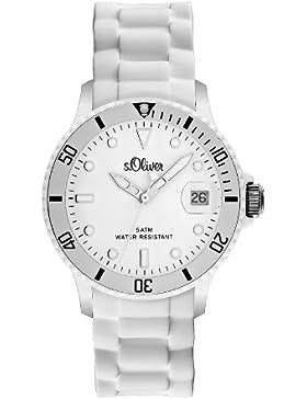 s.Oliver Unisex-Armbanduhr Medium Size Silikon weiß Analog Quarz SO-1935-PQ