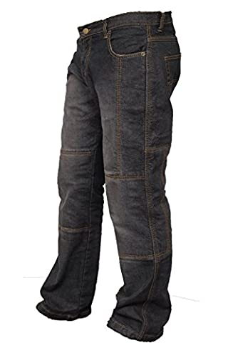 Newfacelook Mens Denim Motorcycle Motorbike Trousers Jeans with Aramid Protection Black W32-L32