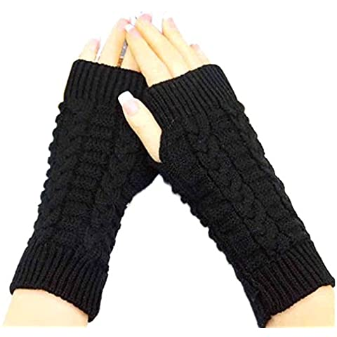 POTOBrand, moda de punto brazo Fingerless invierno guantes Unisex manopla suave caliente (Negro)
