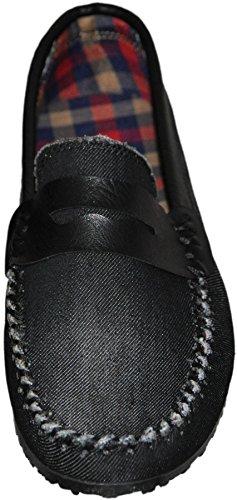 Mocassins jeans pour homme code100 jeans noir