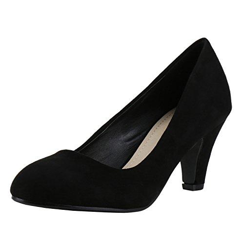80977e71a79b98 napoli-fashion Klassische Pumps Damen Modische Abend Schuhe Wildleder-Optik  Schwarz Black Nero 38