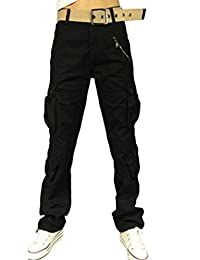 Ghope Femme Pantalon Treillis Cargo Léger en Coton et Loose Loisir Pantalons Multi-pochesStraight Leg