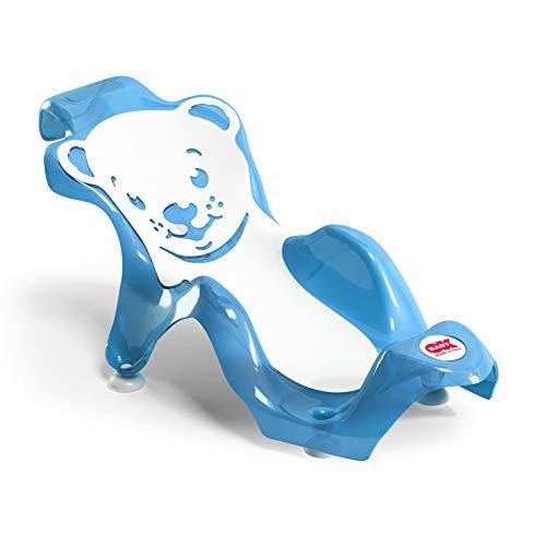 OKBABY - Buddy - Sdraietta Anatomica con Seduta in Gomma Antiscivolo per il Bagnetto Neonato 0-8 Mesi (8 Kg) - Azzurro
