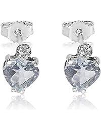 f218e6f18e39 Pendientes Mujer Oro y Diamantes - Oro Blanco 9 Quilates 375 ♥ Diamantes  0.02 Quilates -