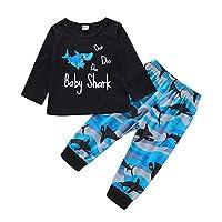 Toddler Baby Boys Shark Clothes Long Sleeve Tops Shirts + Pants Outfits Set (Shark-doo, 4-5T)