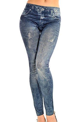 Completos forrados Jeans Mujer ven pantalones ajustados leggins Slim Blue One Size