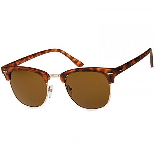 Caspar SG040 Unisex Vintage RETRO Design Sonnenbrille, Farbe:horn-optik/braun getönt