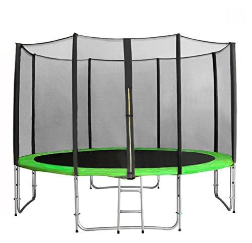 Everletics Garten-Trampolin 430 cm Komplettset inklusive Sprungmatte, Sicherheitsnetz, gepolsterten und verlängerten Pfosten, Randabdeckung und Trampolin-Leiter (Intertek GS-geprüft)