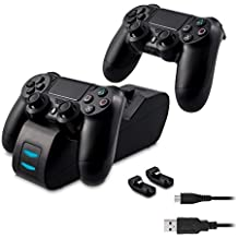 Estación de recarga kwmobile PS4 DualShock docking station para Playstation 4 control incluidos 2 seguros eléctricos (dongles) en color negro