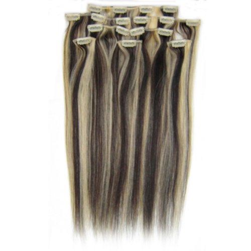 fashionline 38,1 cm Noir Blond (# 1B/613) 100% Remy Hair Lot de 8 extensions capillaires à clipser 100 g poids