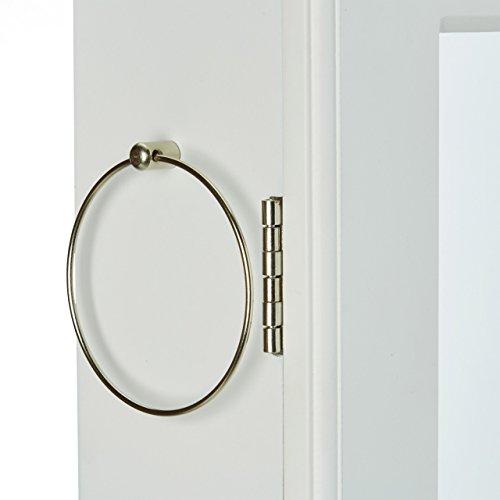 Relaxdays Schmuckschrank mit Spiegel abschließbar, Spiegelschrank groß hängend für Tür, HxBxT: 120 x 38,5 x 10 cm, weiß - 6