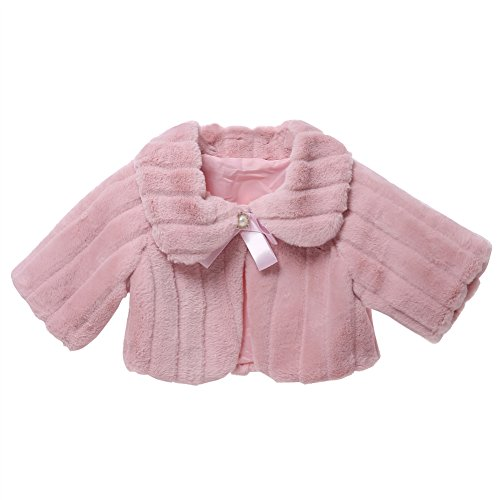 Icegrey bambina giacca pelliccia sintetica comunione coprispalle bolero mantella tippet bolero avvolgente rosa per altezza: 90-100 cm