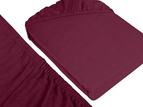npluseins klassisches Jersey Spannbetttuch - erhältlich in 34 modernen Farben und 6 verschiedenen Größen - 100% Baumwolle, 70 x 140 cm, pflaume - 3
